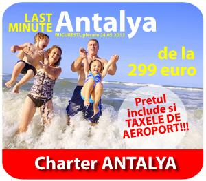 charter Antalya Turcia cu PARALELA 45