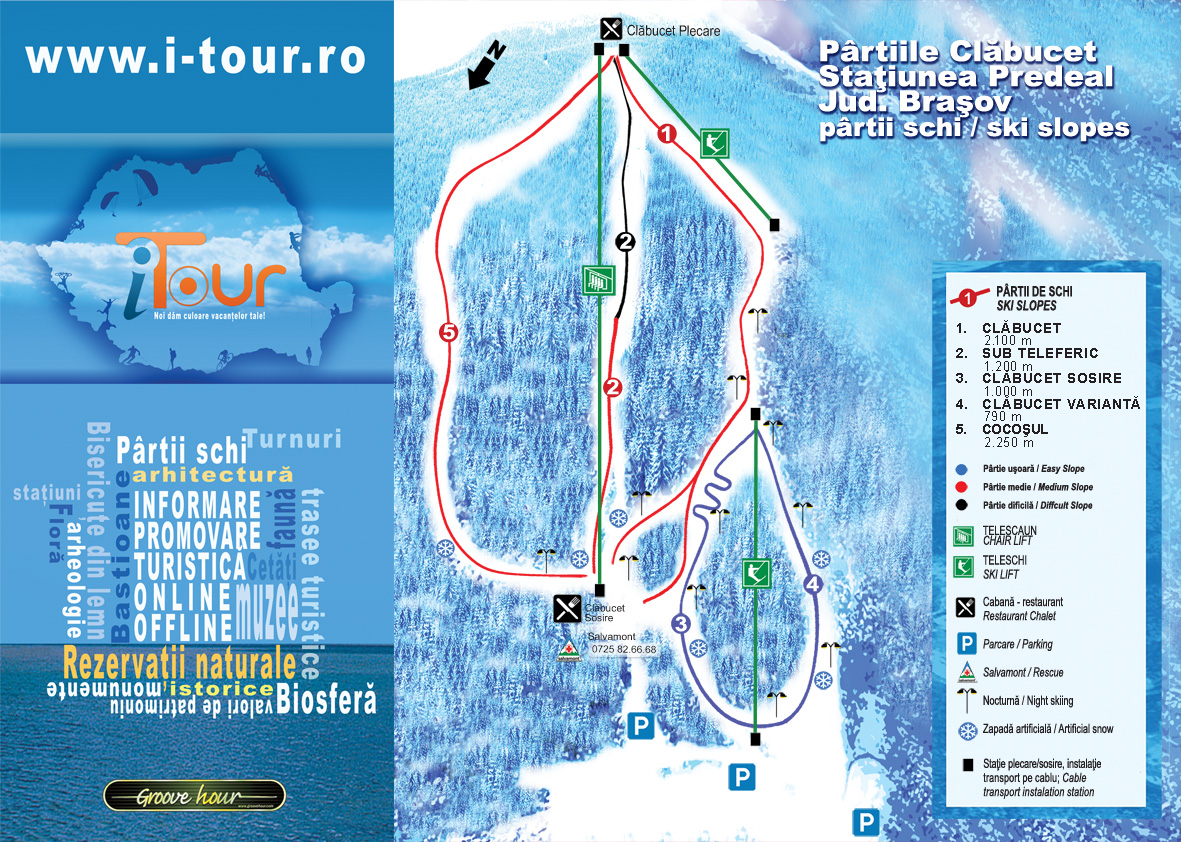 Harta ski Predeal, partii de ski Predeal, harta partii de ski statiunea Predeal