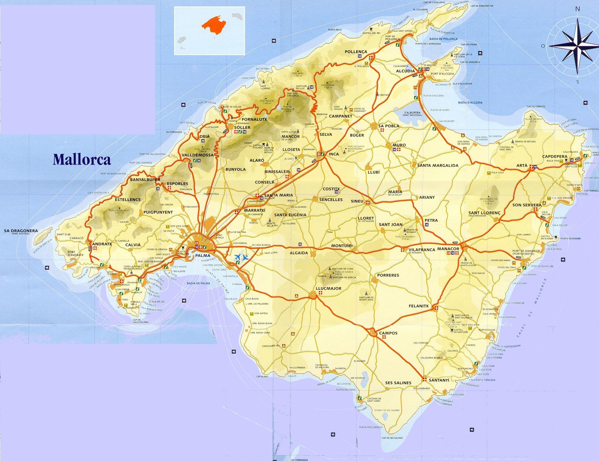 Harta Mallorca Harta Mallorca Harta Turistica Mallorca Spania