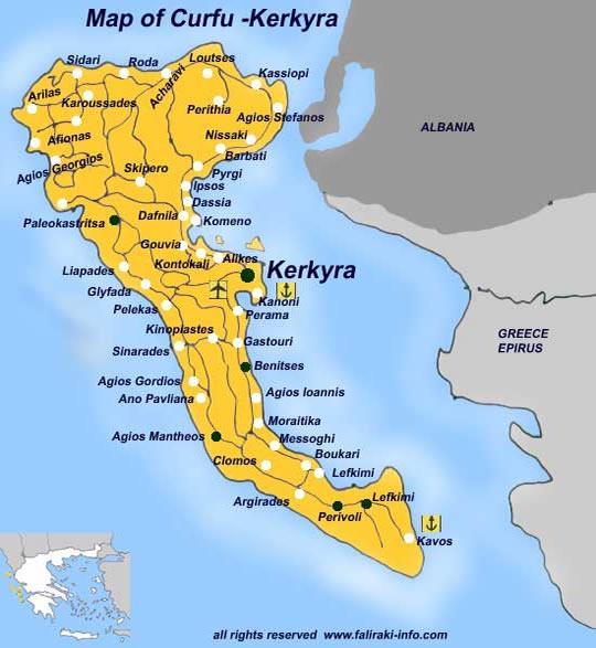 Harta insula Corfu, harta insula Corfu Grecia