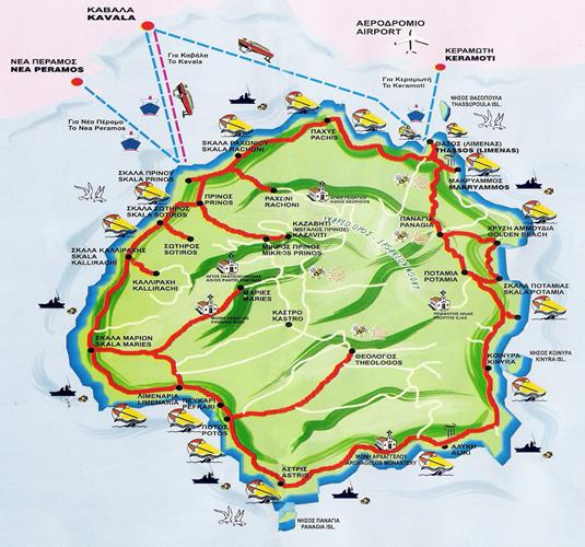Harta insula Thassos, harta insula Thassos Grecia