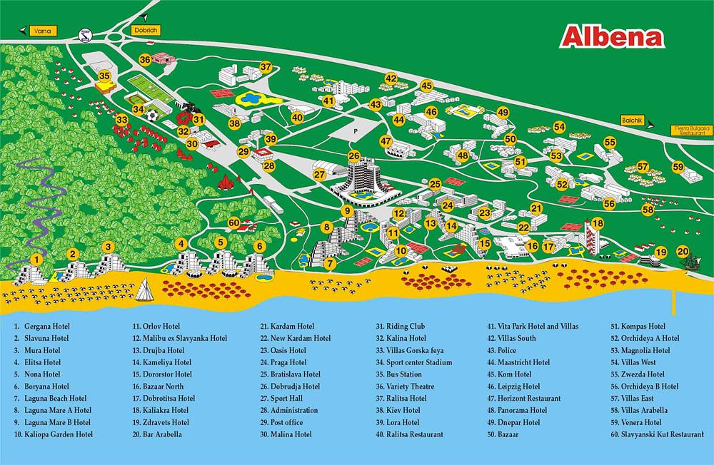 Harta Albena, harta statiunea Albena Bulgaria