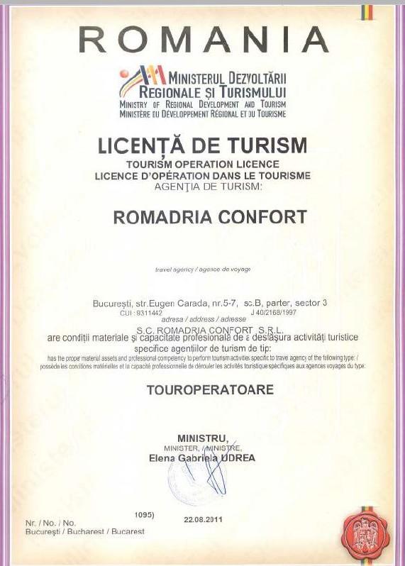 Licenta agentie turism Romadria Confort