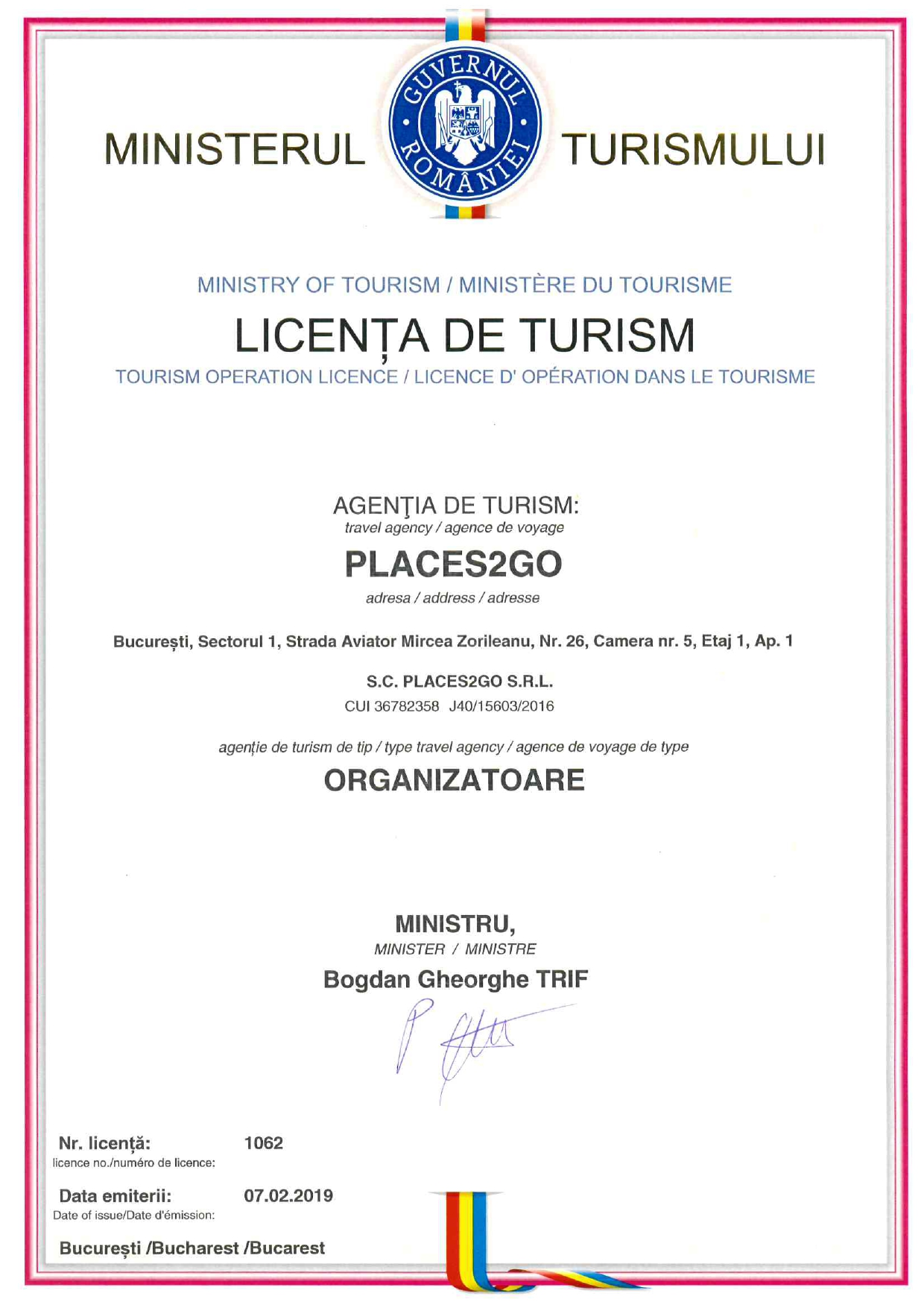 Licenta agentie turism Places 2 Go