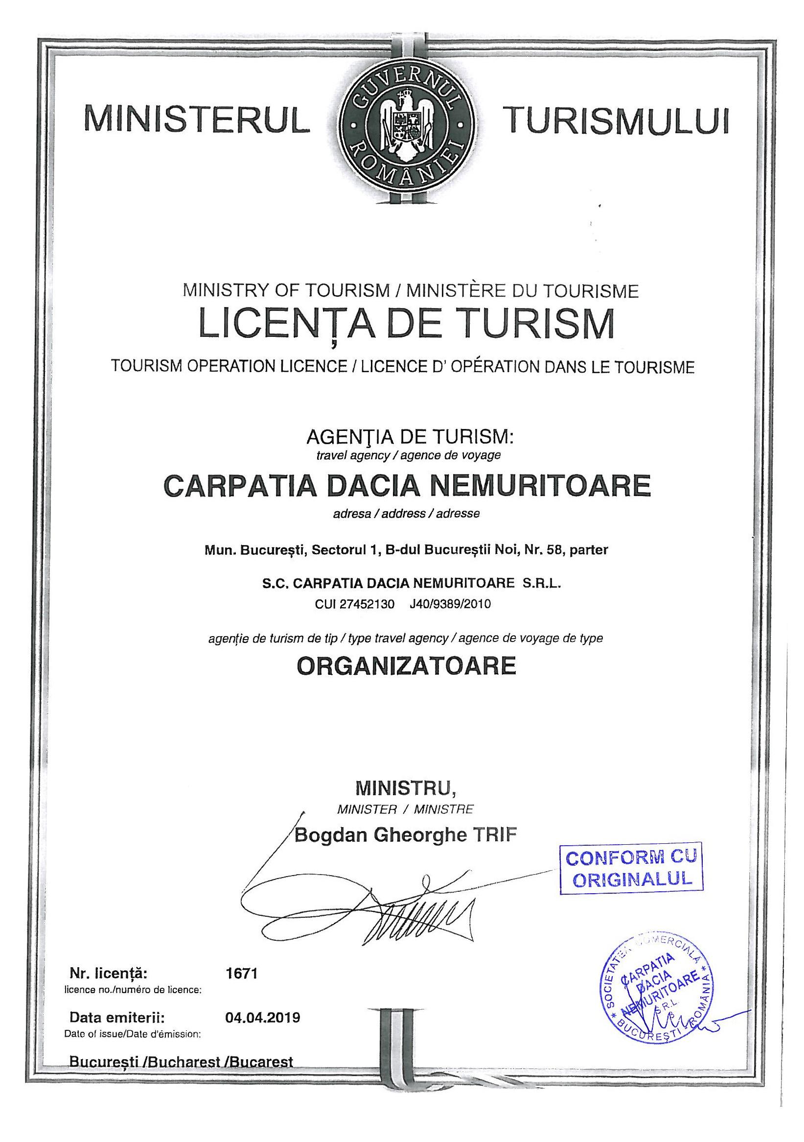 Licenta agentie turism CARPATIA TOUR