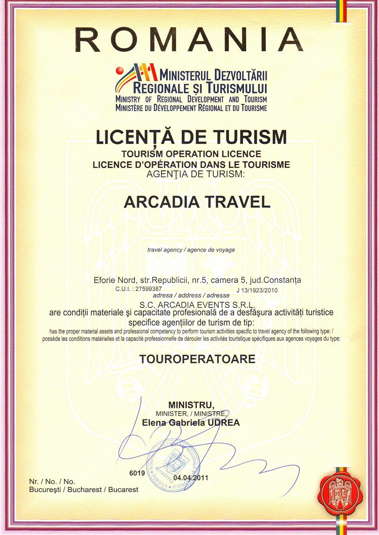 Licenta agentie turism Arcadia Travel