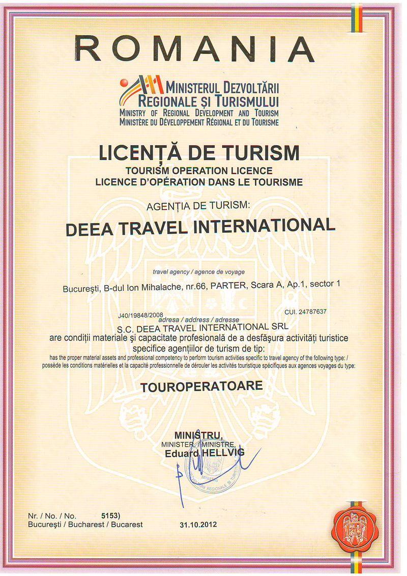 Licenta agentie turism Deea Travel International