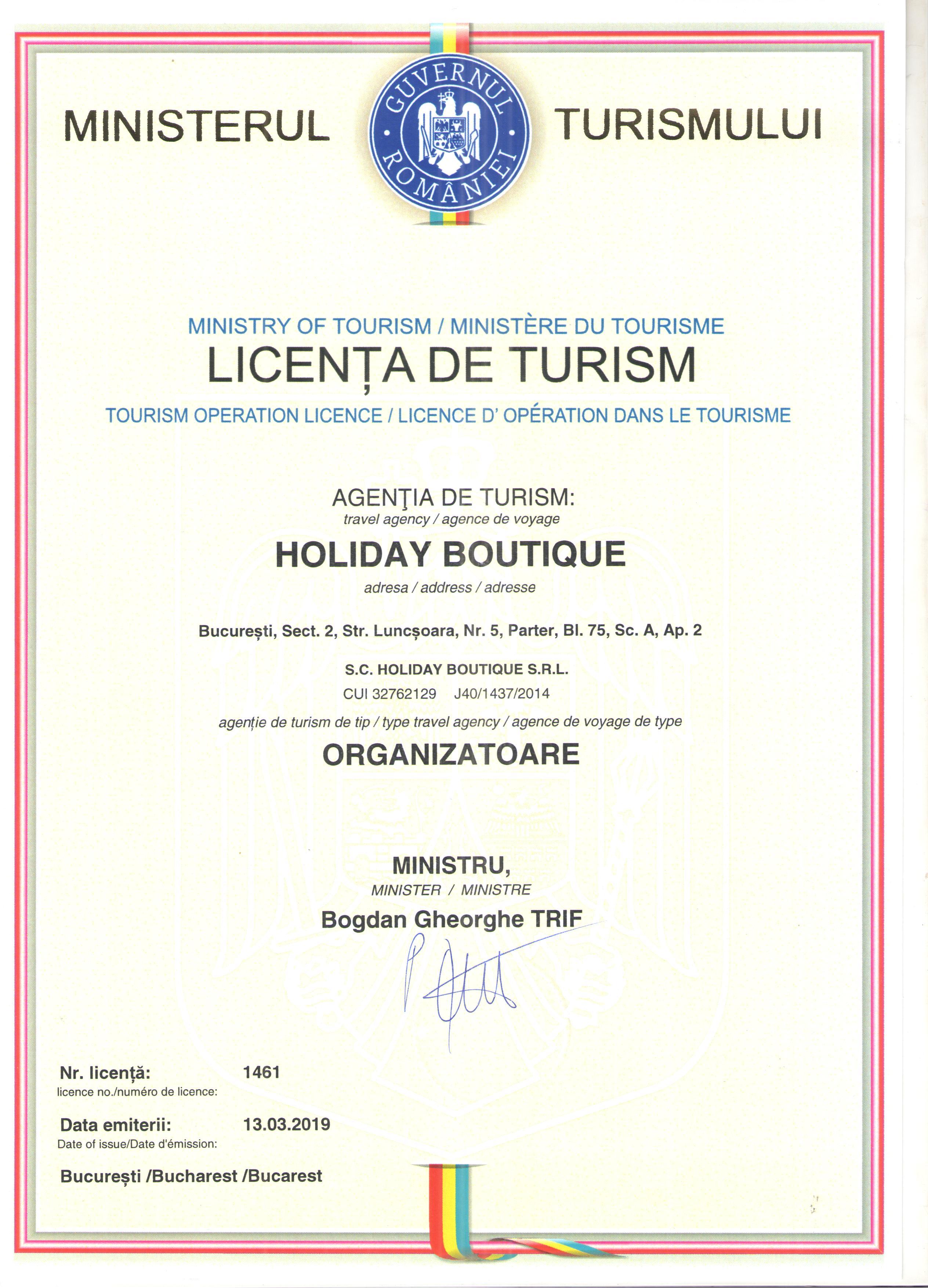 Licenta agentie turism Holiday Boutique
