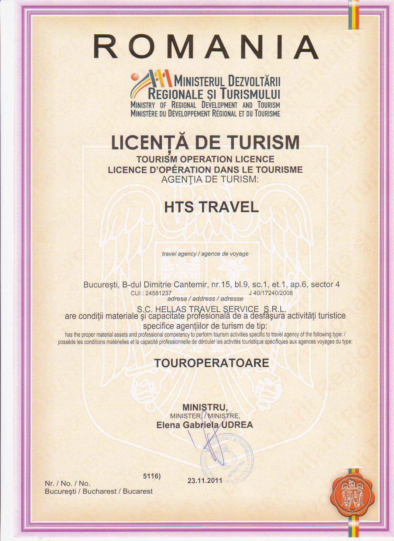 Licenta agentie turism HTS Travel