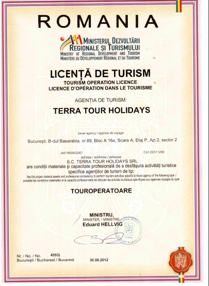 Licenta agentie turism Terra Tour Holidays