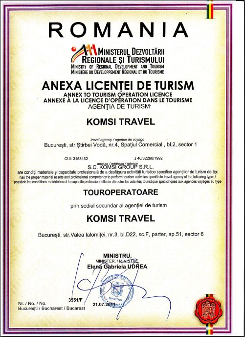 Licenta agentie turism Komsi Travel