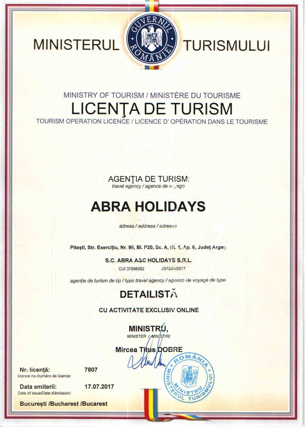 Licenta agentie turism ABRA HOLIDAYS