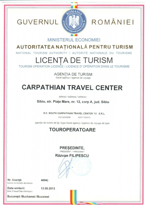 Licenta agentie turism Carpathian Travel Center