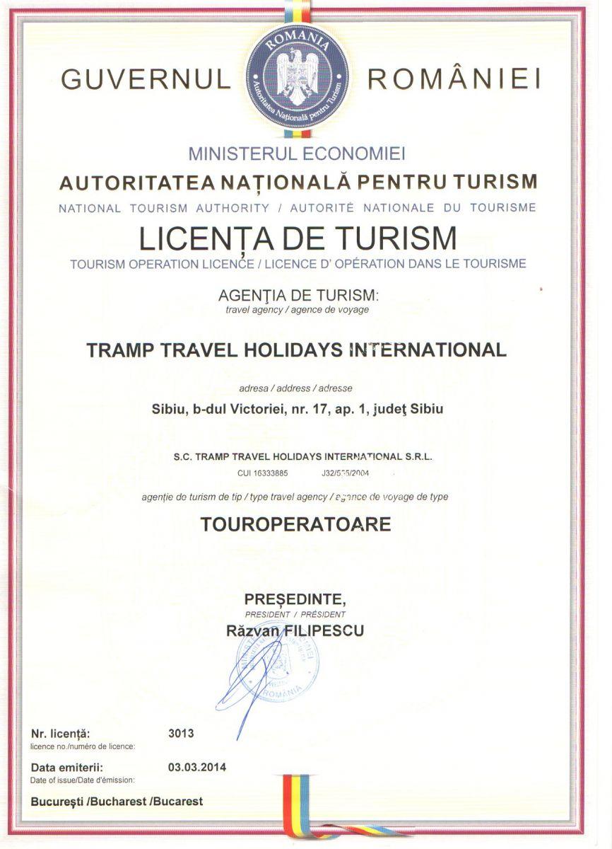 Licenta agentie turism Tramp Travel