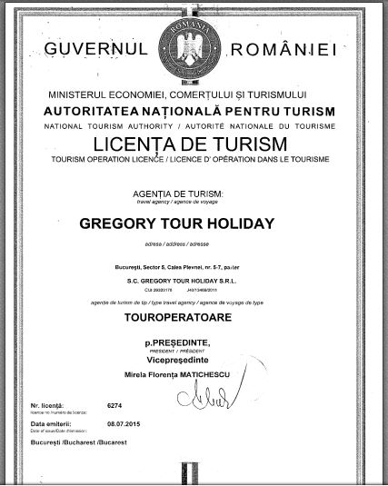 Licenta agentie turism Gregory Tours