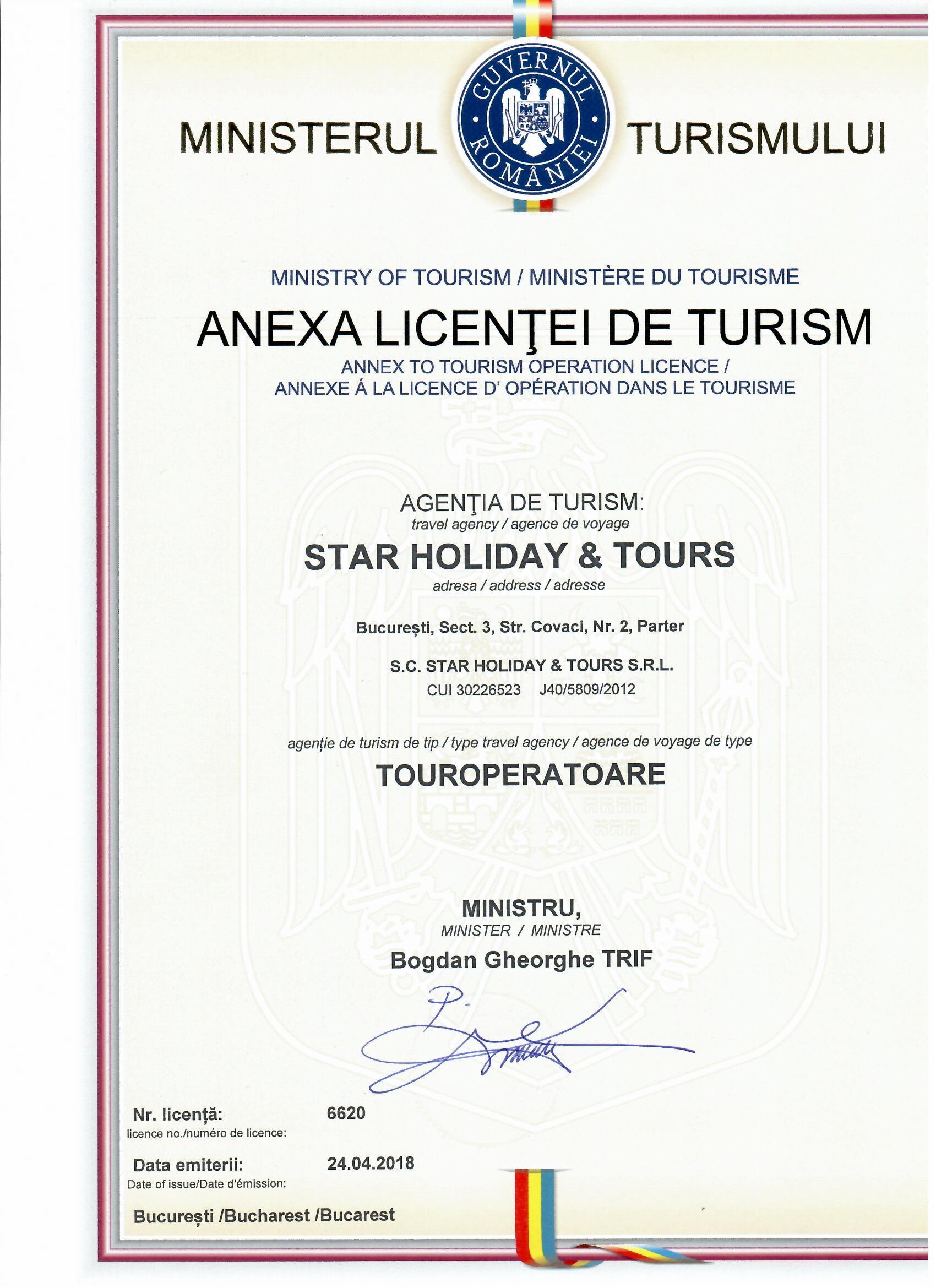 Licenta agentie turism Star Holiday