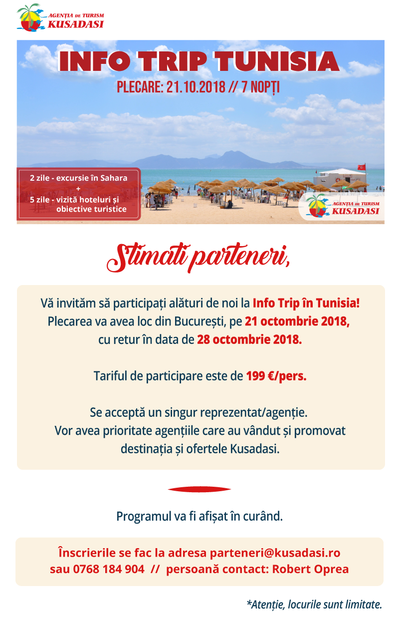 Infotrip Tunisia 21-28 octombrie 2018 by KUSADASI