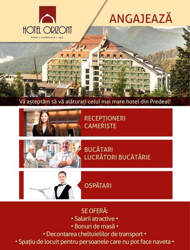 Hotel Orizont din Predeal angajeaza receptioner