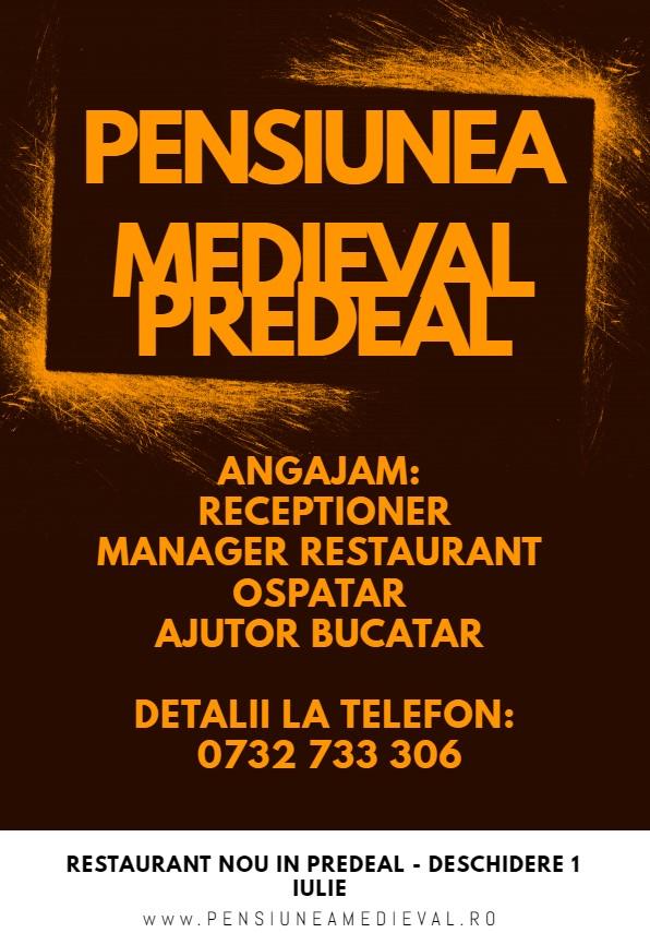 Pensiunea Medieval Predeal angajeaza receptioner