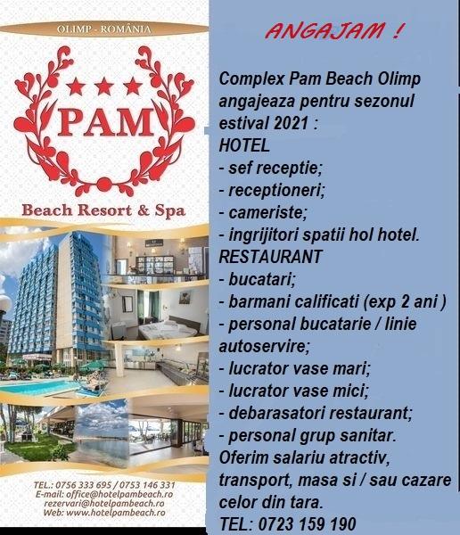 Complex Pam Beach Olimp angajeaza receptionieri