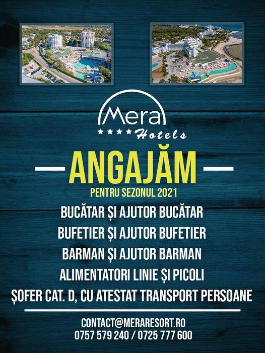 Hotel Mera Resort din Venus angajeaza bucatar