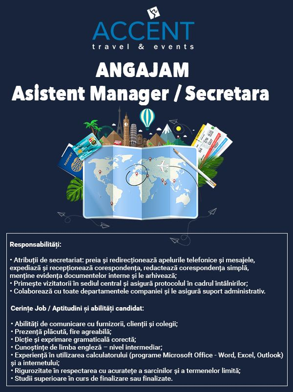 Accent Travel Events cauta asistent manager